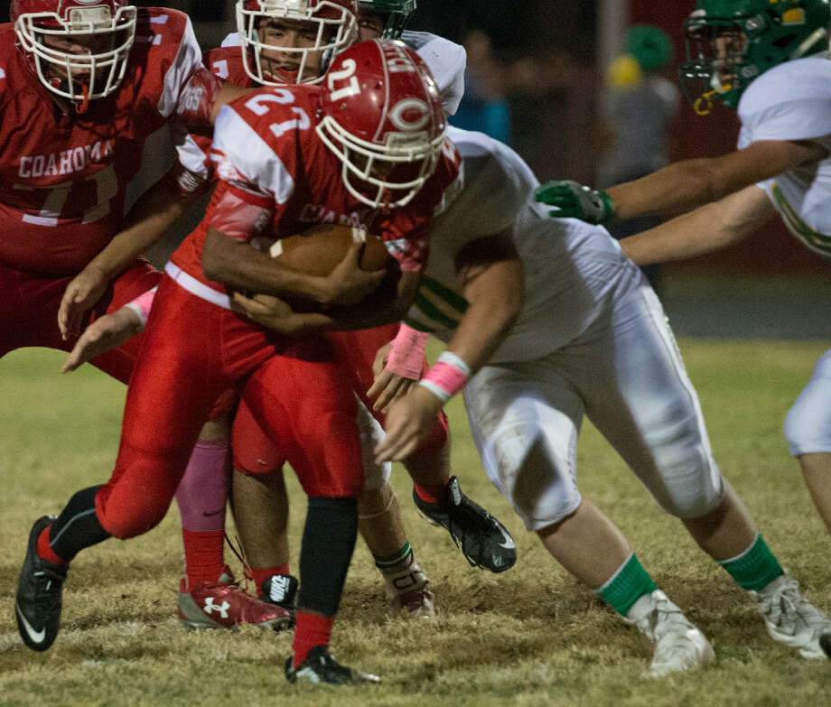 Coahoma's Joe Isaac Escobedo breaks through the line Friday 10-14-16 against Idalou at Bulldog Stadium in Coahoma.Tim Fischer/Reporter-Telegram Photo: Tim Fischer | Reporter-Telegram