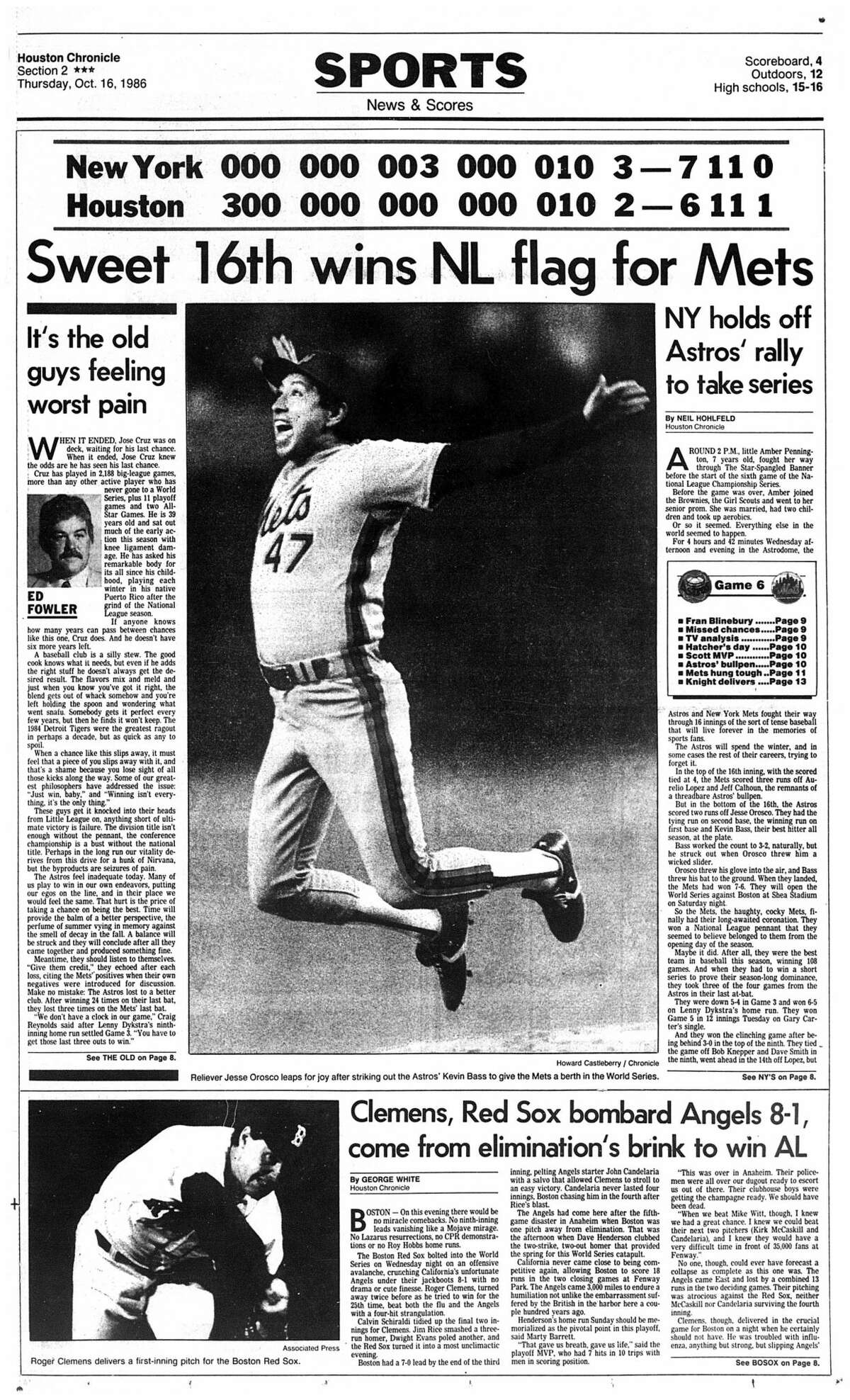 Houston Chronicle sports front page from Oct. 16, 1986, after Game 6 of the Astros/Mets National League Championship Series.