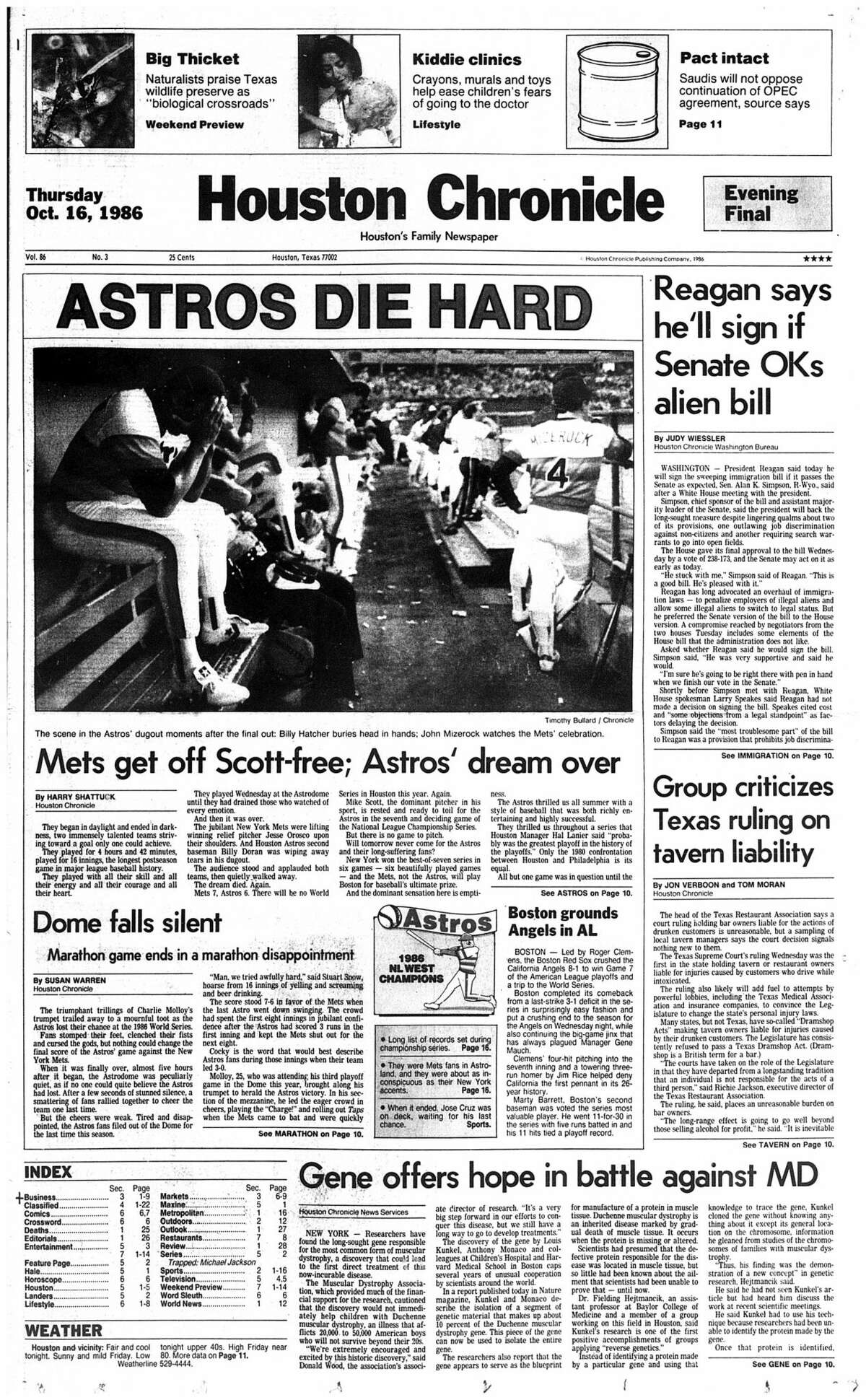 Houston Chronicle front page from Oct. 16, 1986, after Game 6 of the Astros/Mets National League Championship Series.