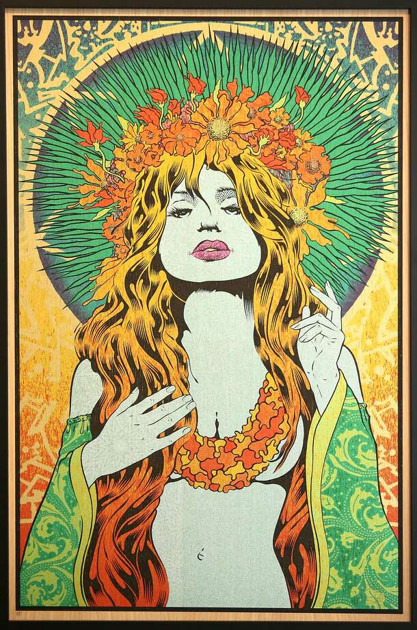 """Emele"" (2016), an oak panel by San Francisco rock poster artist Chuck Sperry. Photo: Liz Hafalia, The Chronicle"