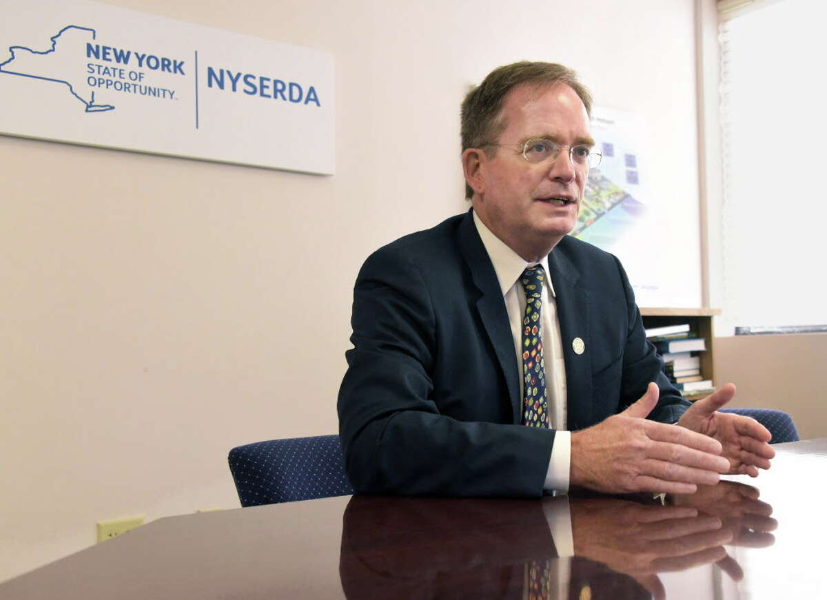 John Rhodes, president of NYSERDA, during an interview in his office Wednesday Sept. 21, 2016 in Albany, NY. (John Carl D'Annibale / Times Union)