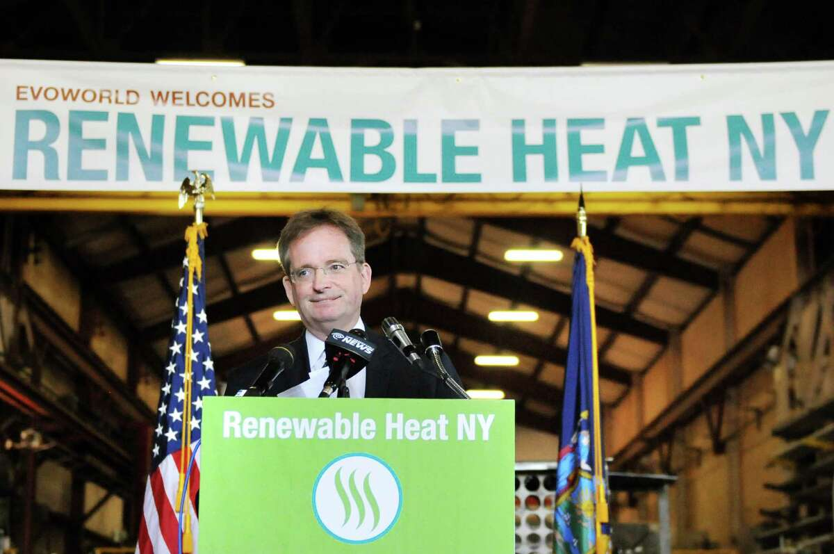 John Rhodes, president and CEO of NYSERDA, speaks during a news conference on Tuesday, July 29, 2014, at Evoworld Inc. in Troy, N.Y. NYSERDA and the DEC announced a roll-out of a comprehensive set of programs under Gov. Andrew Cuomoa€™s Renewable Heat NY initiative. (Cindy Schultz / Times Union)