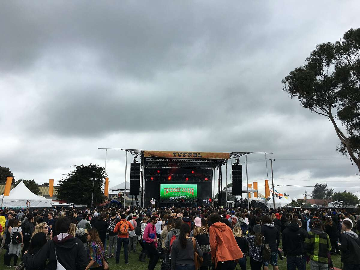 Dark clouds roll in during the first day of Treasure Island Music Festival 2016 on Saturday, Oct. 15.