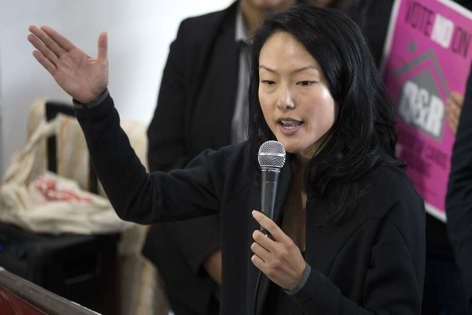 Board of Supervisors Jane Kim addresses a crowd during a rally on Saturday, Oct. 15, 2016 in San Francisco, Calif. Photo: Santiago Mejia, The Chronicle