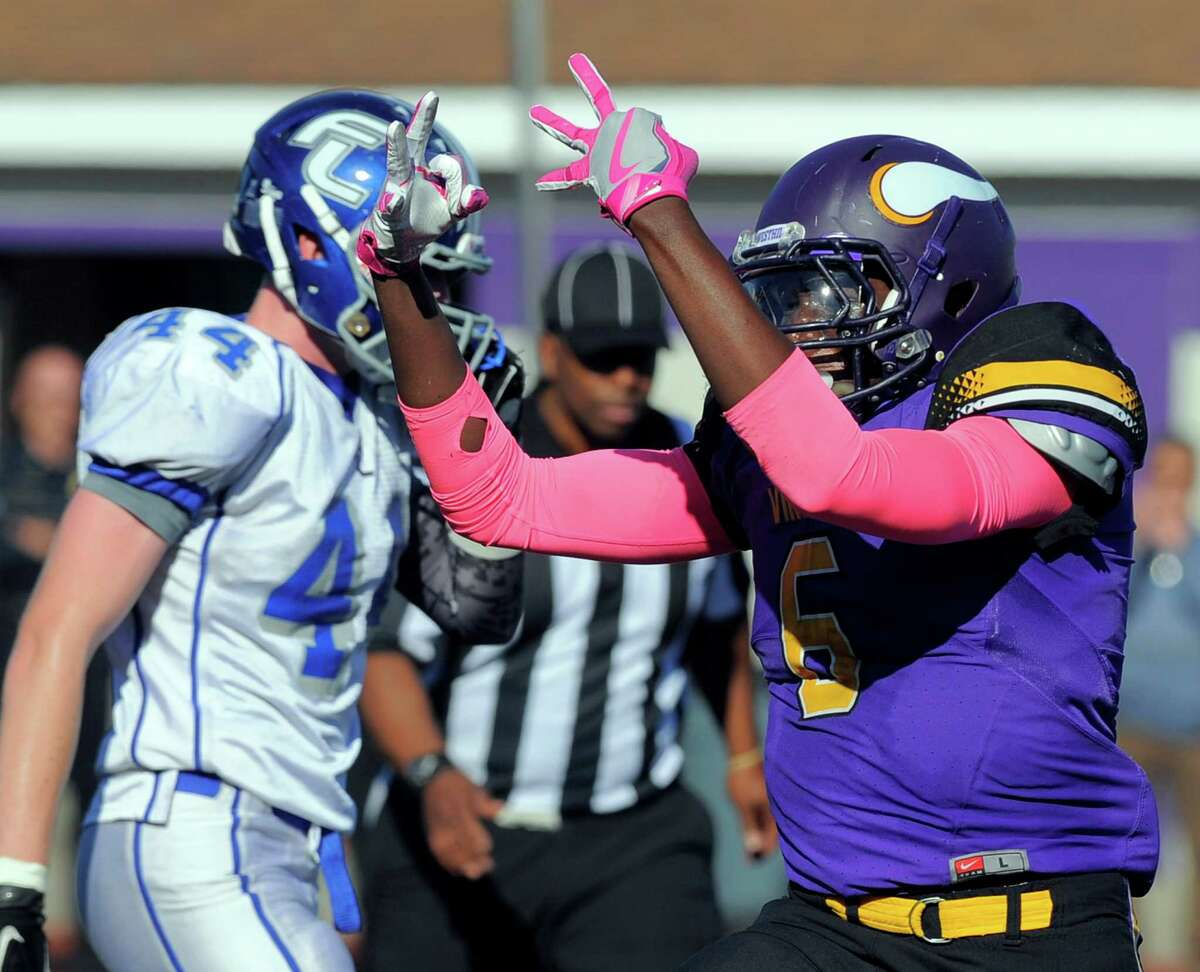 Westhill Brendan Holtzclaw signals his sixth sack against Fairfield Ludlowe in a FCIAC football game at Westhill High School in Stamford on Saturday, Oct. 15, 2016. Westhill defeated Fairfield Ludlowe 21-0.