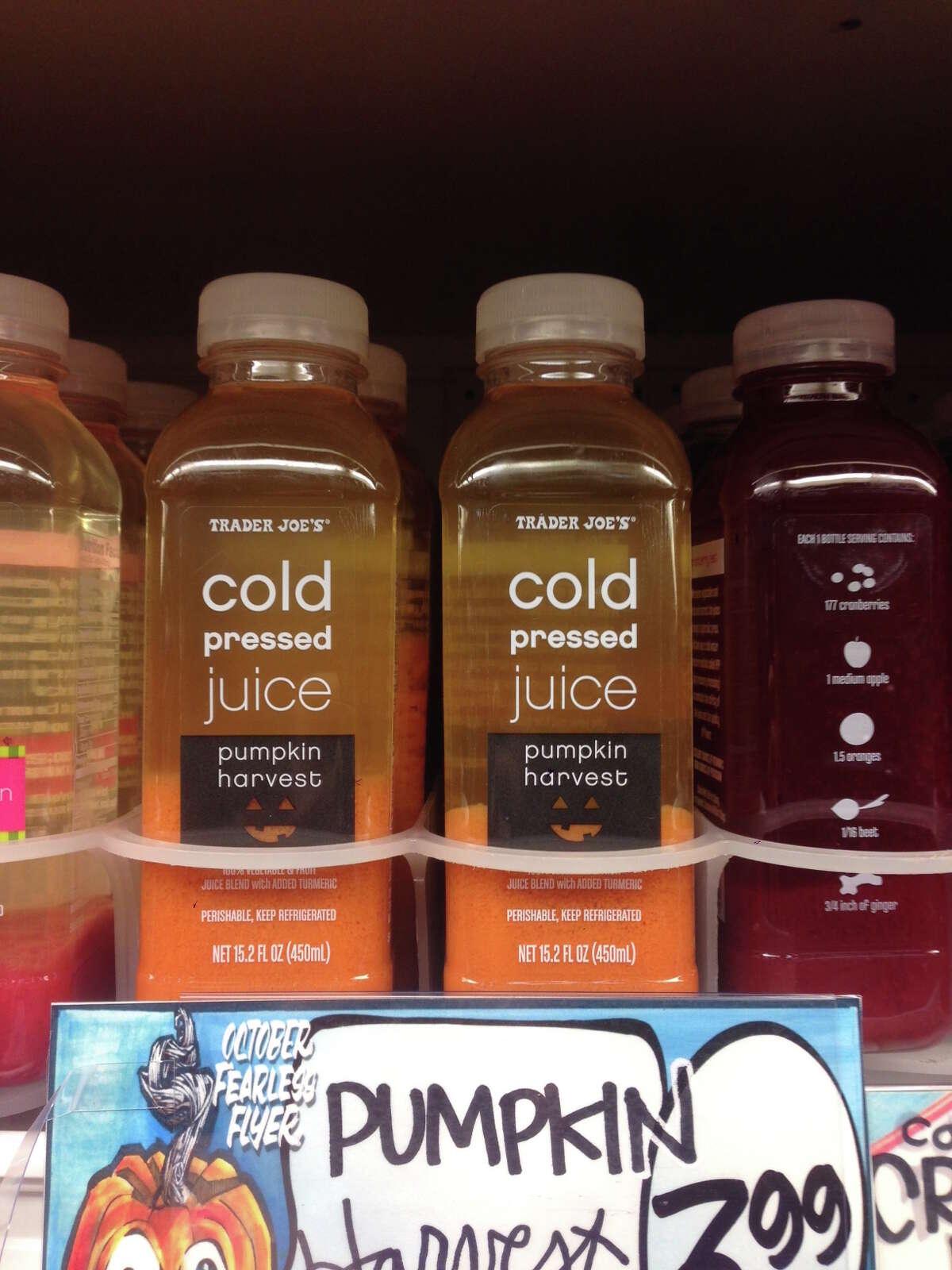 2) Trader Joe's Cold Pressed Pumpkin Harvest Juice: Carrots, celery, sweet potatoes ginger, turmeric and, of course, pumpkin.