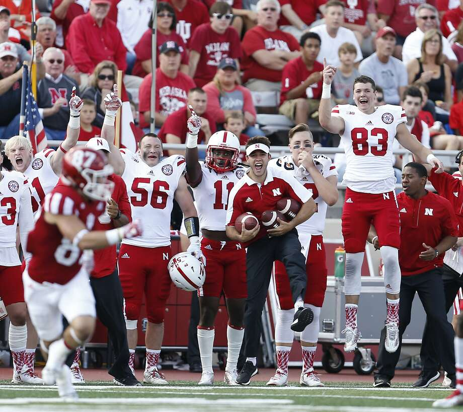 The Nebraska bench erupts during an interception by Nebraska cornerback Chris Jones in the first half of in Bloomington, Ind. Photo: Sam Riche, Associated Press