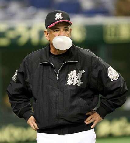 Team Manager Bobby Valentine of the Chiba Lotte Marines blows a bubble during the 2006 World Baseball Classic Exhibition Game against Korea on March 1, 2006 at Tokyo Dome in Tokyo, Japan. The exhibition games in Tokyo take place between February 28 and March 1 and the Asia Round will take place from March 3 to March 5. Photo: Koichi Kamoshida, Getty Images / 2006 Getty Images