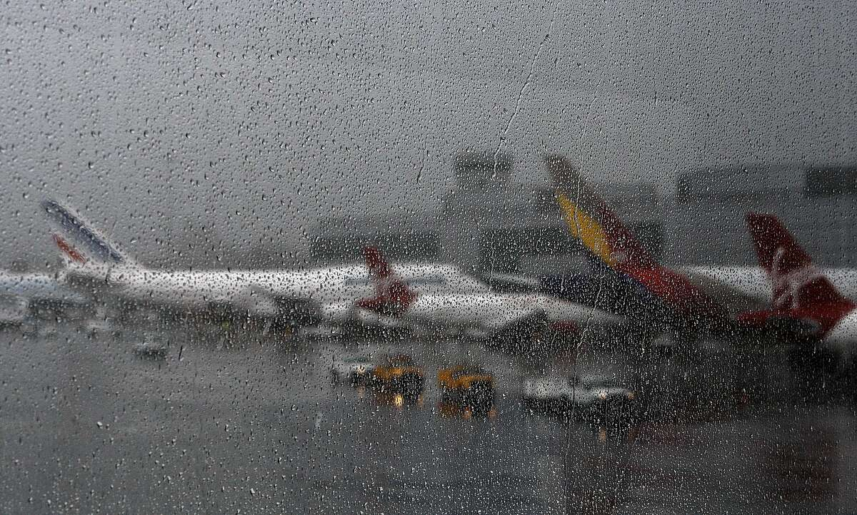 Many flights were delayed at SFO due the storm that rolled through the San Francisco Bay Area bringing heavy rains on Tuesday, October 13, 2009.