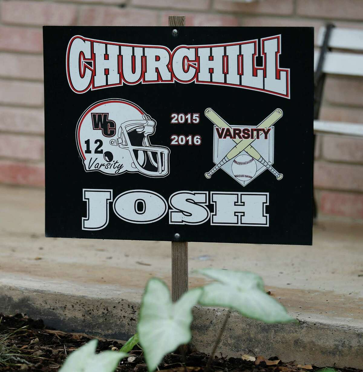 In August, Stacie Pollard and her husband Dan lost their youngest son, Joshua, when he passed away due to sudden cardiac arrest from a previously undiagnosed heart condition. In front of the family's home is a sign showing the sports that the 18-year-old participated in at Churchill High School. (Kin Man Hui/San Antonio Express-News)
