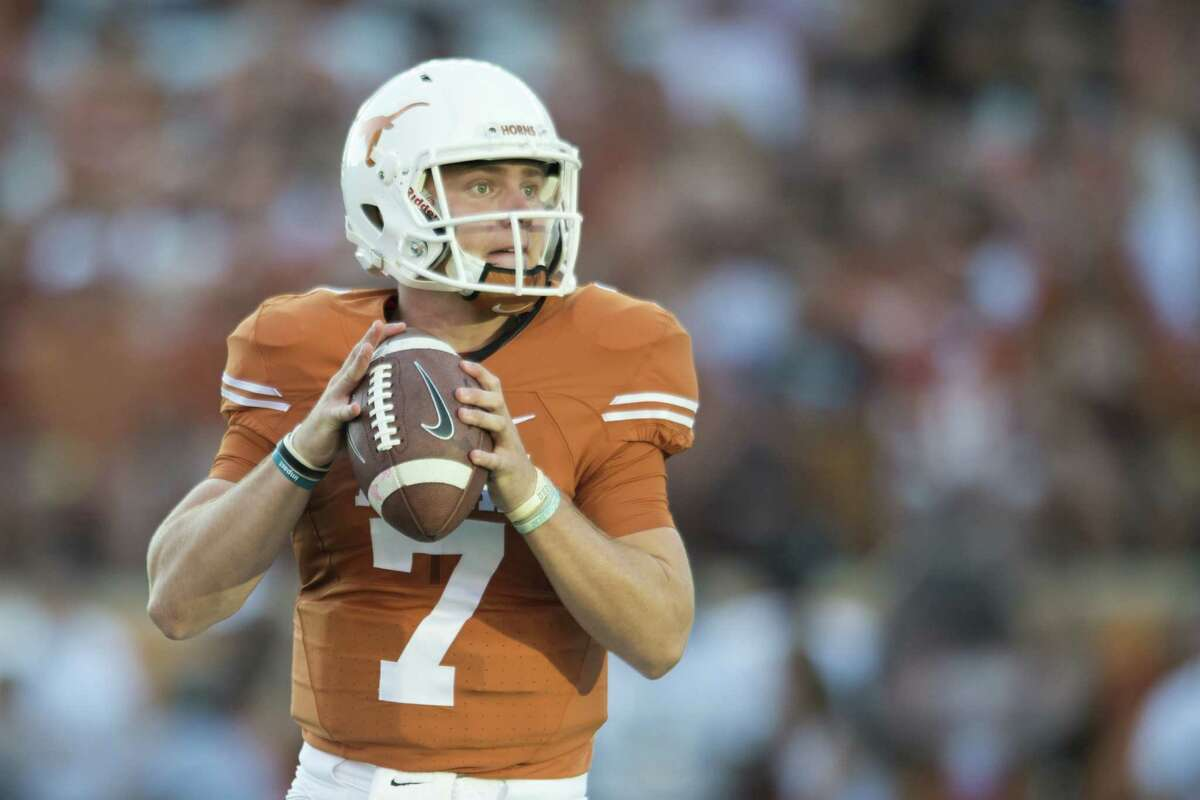 AUSTIN, TX - OCTOBER 15: Shane Buechele #7 of the Texas Longhorns drops back to pass against the Iowa State Cyclones during the first half on October 15, 2016 at Darrell K Royal-Texas Memorial Stadium in Austin, Texas.