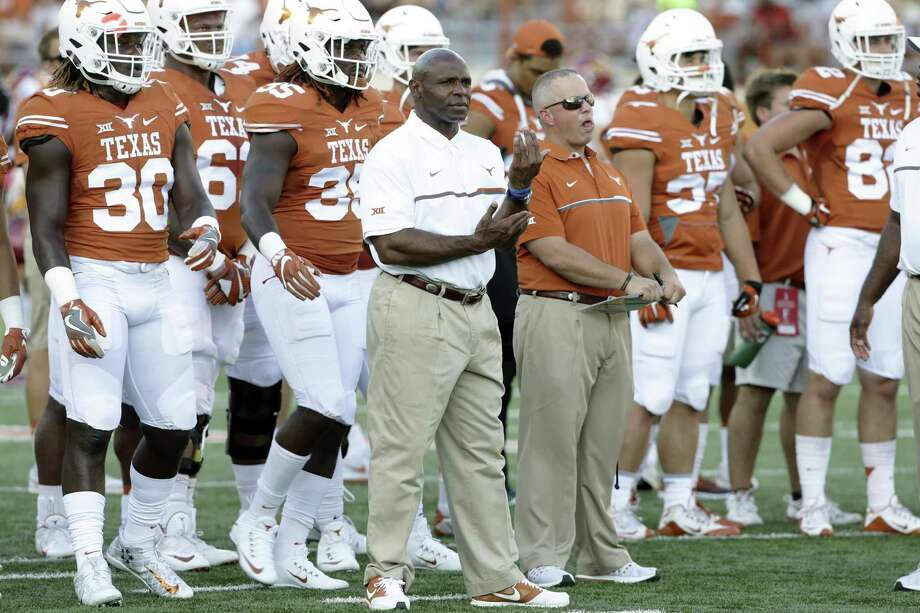 Longhorns coach Charlie Strong waits wioth his players for the start of the game against Iowa State at Royal-Memorial Stadium on Oct. 15, 2016. Photo: Tom Reel /San Antonio Express-News / 2016 SAN ANTONIO EXPRESS-NEWS