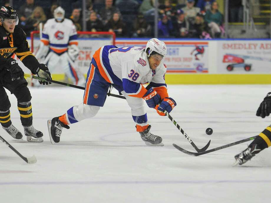Bracken Kearns (38) of the Bridgeport Sound Tigers skates up ice and scores during a game against the Providence Bruins on October 15, 2016 at the Webster Bank Arena in New Bridgeport, Connecticut. Photo: Gregory Vasil / For Hearst Connecticut Media / Connecticut Post Freelance