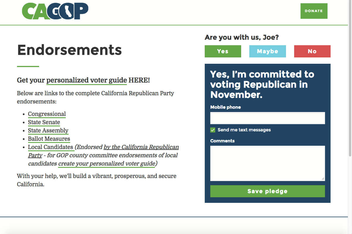 The endorsement page of the California Republican Party's website was silent on the presidential race before a spokeswoman was questioned about Donald Trump's candidacy.