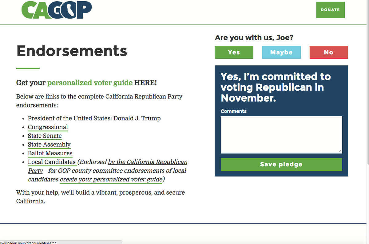 The endorsement page of the California Republican Party's website included Donald Trump only after a spokeswoman was questioned about his candidacy.
