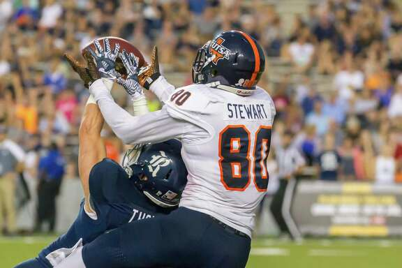 Rice's Cole Thomas breaks up a pass intended for UTSA wide receiver Josh Stewart during Saturday's game. Stewart finished with two catches for 103 yards, including both of the Roadrunners' touchdowns.