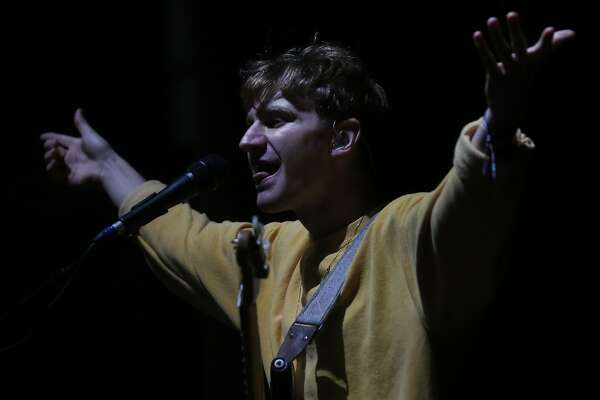 Dave Bayley of Glass Animals performs with the band during first night of the Treasure Island music festival Oct. 15, 2016 in San Francisco, Calif.