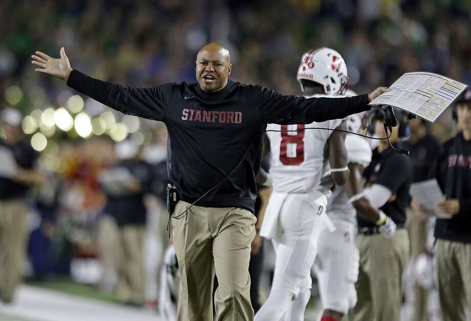 Stanford coach David Shaw yells from the sideline during the first quarter against Notre Dame in South Bend, Ind. Photo: Michael Conroy, Associated Press