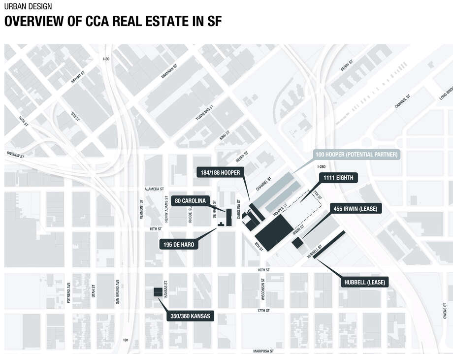 A map showing the current buildings in San Francisco occupied by the California College of the Arts — an area of the city south of Showplace Square, north of Potrero Hill and west of Mission Bay.
