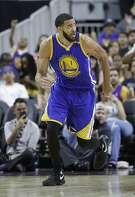 Golden State Warriors' JaVale McGee (1) plays against the Los Angeles Lakers during an NBA preseason basketball game Saturday, Oct. 15, 2016, in Las Vegas. (AP Photo/John Locher)