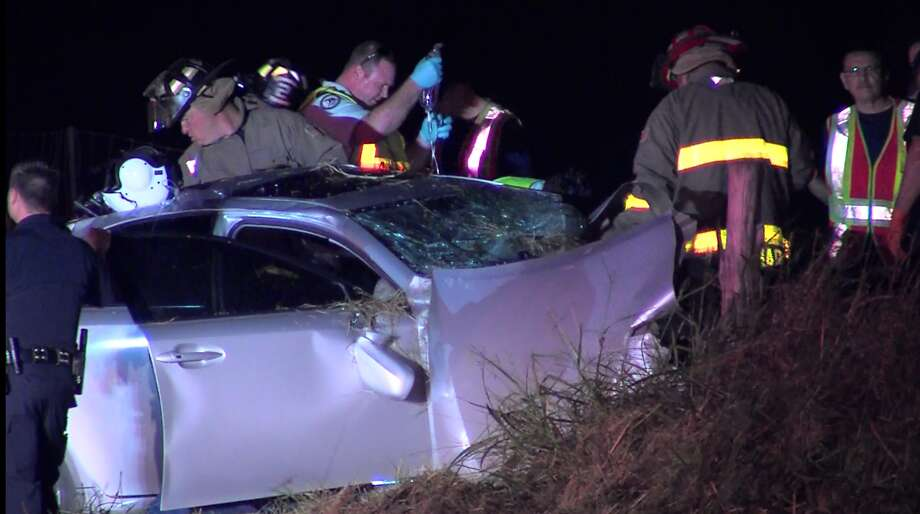 Four people were sent to an area hospital Sunday morning Oct. 16, 2016, in serious condition following a head-on collision involving a wrong-way driver, police say. Photo: Pro 21 Video