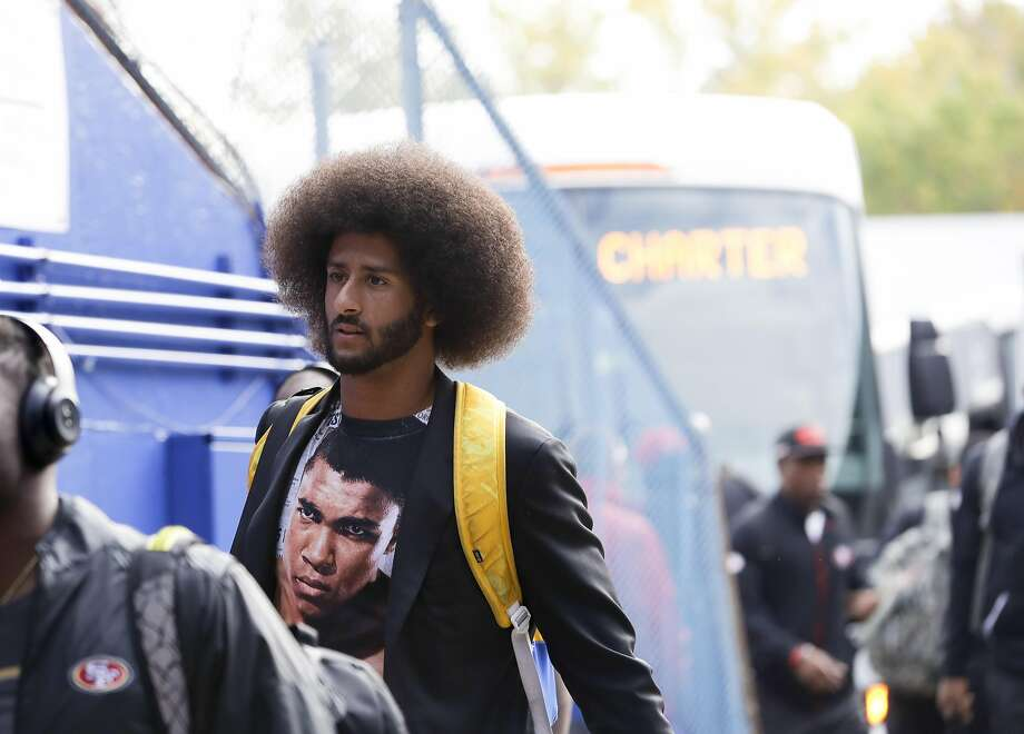 San Francisco 49ers quarterback Colin Kaepernick arrives at New Era Field before an NFL football game against the Buffalo Bills on Sunday, Oct. 16, 2016, in Orchard Park, N.Y. (AP Photo/Mike Groll) Photo: Mike Groll, Associated Press
