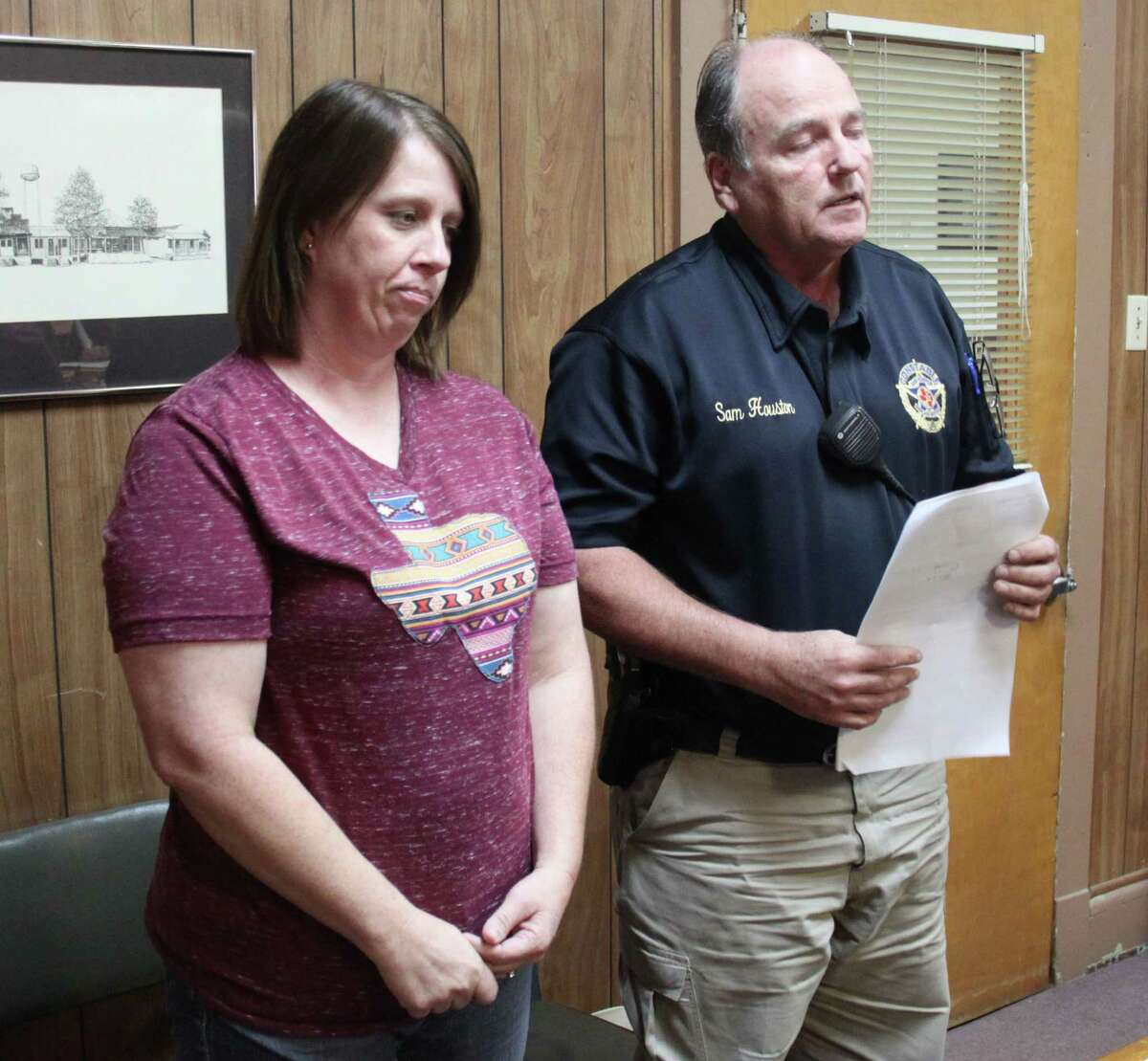 Pct. 3 Constable Sam Houston (right) requests the San Jacinto County Commissioners court on Oct. 11 to approve selecting LatenessKoen (left) as a reserve deputy.