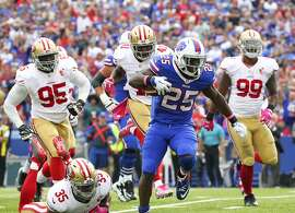 Buffalo Bills running back LeSean McCoy (25) beats San Francisco 49ers defenders for a touchdown during the second half of an NFL football game on Sunday, Oct. 16, 2016, in Orchard Park, N.Y. (AP Photo/Bill Wippert)