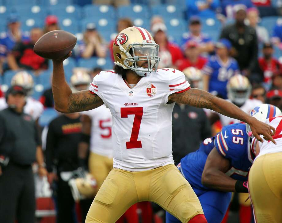 San Francisco 49ers quarterback Colin Kaepernick (7) passes during the second half of an NFL football game against the Buffalo Bills on Sunday, Oct. 16, 2016, in Orchard Park, N.Y. Buffalo won 45-16. (AP Photo/Jeffrey T. Barnes) Photo: Jeffrey T. Barnes, Associated Press