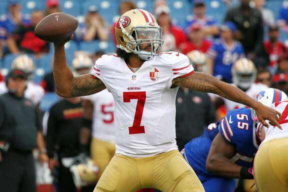 San Francisco 49ers quarterback Colin Kaepernick (7) passes during the second half of an NFL football game against the Buffalo Bills on Sunday, Oct. 16, 2016, in Orchard Park, N.Y. Buffalo won 45-16. (AP Photo/Jeffrey T. Barnes)