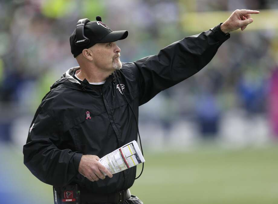 Atlanta Falcons head coach Dan Quinn signals to his team in the first half of an NFL football game against the Seattle Seahawks, Sunday, Oct. 16, 2016, in Seattle. (AP Photo/Stephen Brashear) Photo: Stephen Brashear/AP