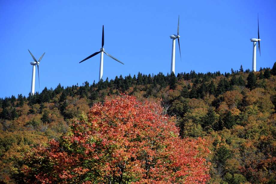 Wind turbines at the Searsburg Wind Power Facility in Searsburg, Vt., Oct. 4, 2016. As two towns get ready to vote on a wind farm in Windham, Vermont's candidates for governor get pulled into the debate. (Nathaniel Brooks/The New York Times) Photo: NATHANIEL BROOKS, STR / NYT / NYTNS