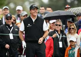 NAPA, CA - OCTOBER 16:  Phil Mickelson reacts to the crowd before teeing off on the second hole during the final round of the Safeway Open at the North Course of the Silverado Resort and Spa on October 16, 2016 in Napa, California.  (Photo by Ezra Shaw/Getty Images)