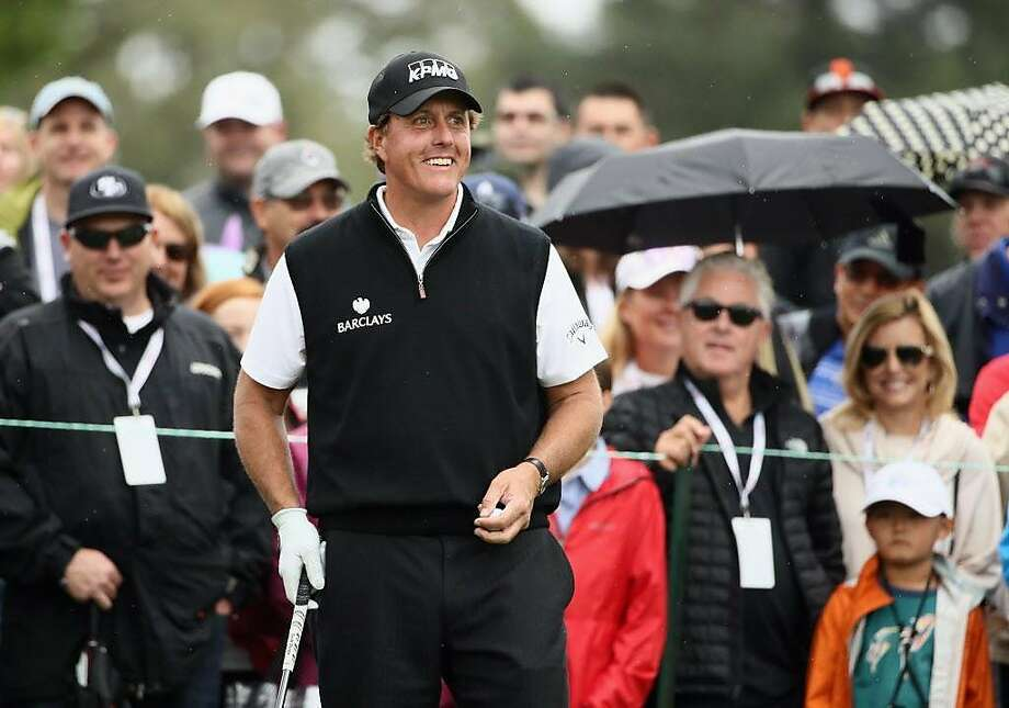 NAPA, CA - OCTOBER 16:  Phil Mickelson reacts to the crowd before teeing off on the second hole during the final round of the Safeway Open at the North Course of the Silverado Resort and Spa on October 16, 2016 in Napa, California.  (Photo by Ezra Shaw/Getty Images) Photo: Ezra Shaw, Getty Images