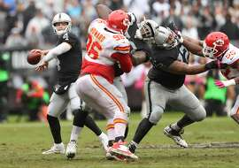 Oakland Raiders' Derek Carr passes during 2nd quarter of 26-10 loss to Kansas City Chiefs during NFL game at Oakland Coliseum in Oakland, Calif., on Sunday, October 16, 2016.