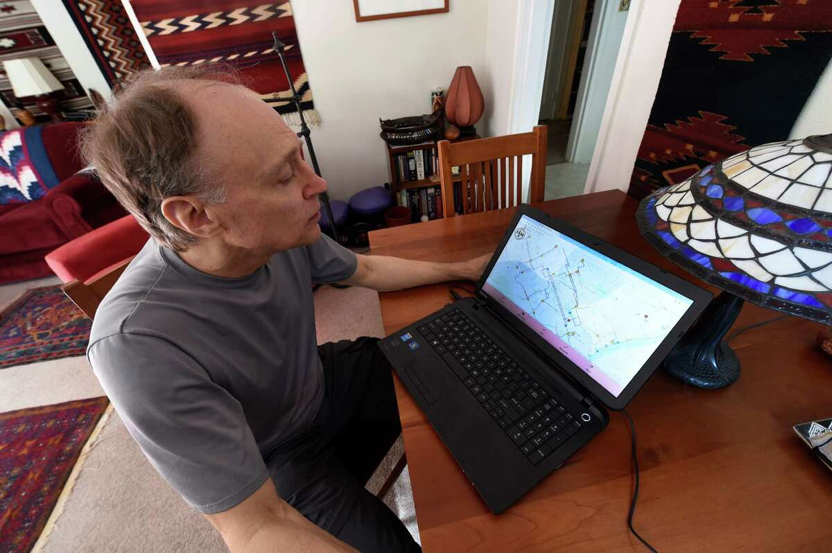 Glenn Sandberg demonstrates the new bike map software on his computer Friday Oct. 14, 2016 in Albany , N.Y. (Skip Dickstein/Times Union)