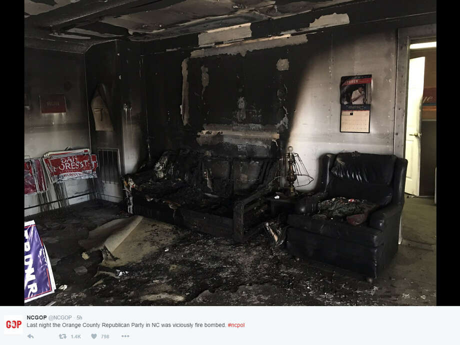 The Orange County Republican Headquarters in North Carolina was firebombed Saturday night. Source:Twitter Photo: Twitter