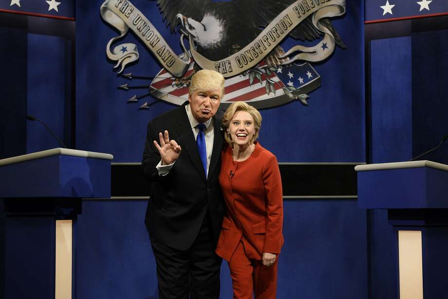 "FILE - In a Saturday, Oct. 1, 2016 file photo provided by NBC, Alec Baldwin, left, as Republican presidential candidate, Donald Trump, and Kate McKinnon, as Democratic presidential candidate, Hillary Clinton, perform on the 42nd season of ""Saturday Night Live,"" in New York. Republican presidential candidate Donald Trump tweeted early Sunday morning, Oct. 16, 2016, that the show's skit depicting him this week was a ""hit job."" Trump went on to write that it's ""time to retire"" the show, calling it ""boring and unfunny"" and adding that Alec Baldwin's portrayal of him ""stinks."" (Will Heath/NBC via AP, File) Photo: Will Heath, Associated Press"