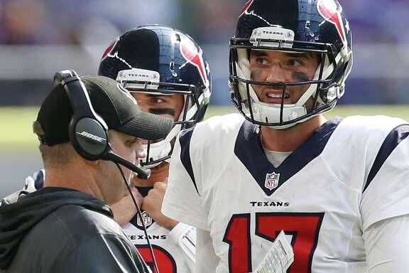 Texans coach Bill O'Brien, left, and QB Brock Osweiler are still seeking a statement win.