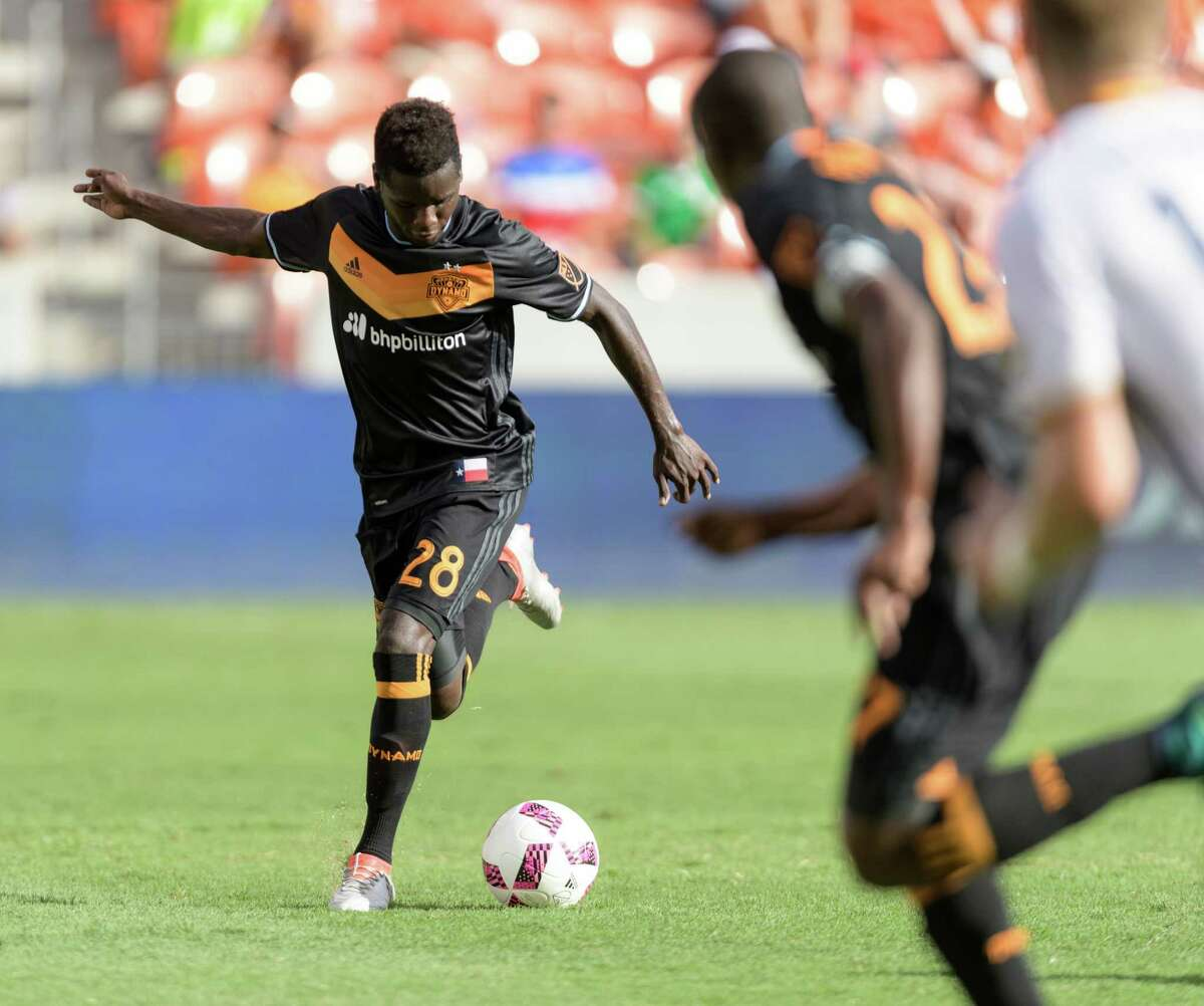Yair Arboleda (28) of the Houston Dynamo brings the ball up the field in the first half against the LA Galaxy in an MLS game on Sunday, October 16, 2016 at BBVA Compass Stadium in Houston Texas.