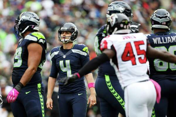 Seahawks kicker Steven Hauschka (4) looks on after his extra point attempt was blocked in the 4th quarter of Seattle's game against Atlanta, Sunday Oct. 16, 2016, at CenturyLink Field.