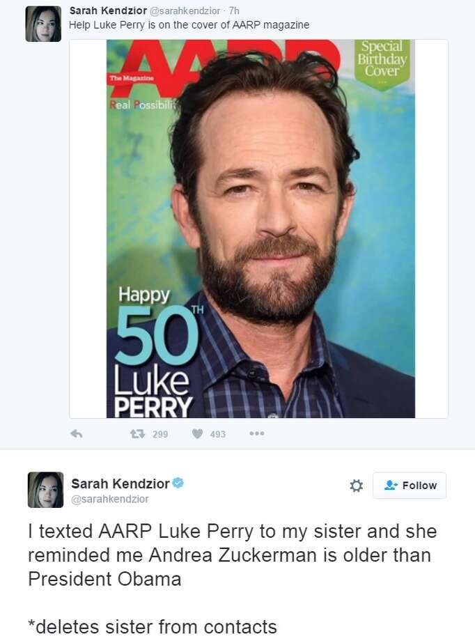 Twitter reactions to Luke Perry turning 50 and making the cover of ARRP. Photo: Twitter