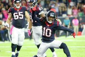 Houston Texans wide receiver DeAndre Hopkins (10) reacts after a touchdown during the fourth quarter of an NFL football game at NRG Stadium on Sunday, Oct. 16, 2016, in Houston. ( Brett Coomer / Houston Chronicle )