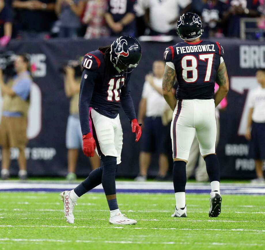 Houston Texans wide receiver DeAndre Hopkins (10) reacts after failing to make a catch during the third quarter of an NFL football game at NRG Stadium, Sunday,Oct. 16, 2016 in Houston. Photo: Karen Warren, Houston Chronicle / 2016 Houston Chronicle