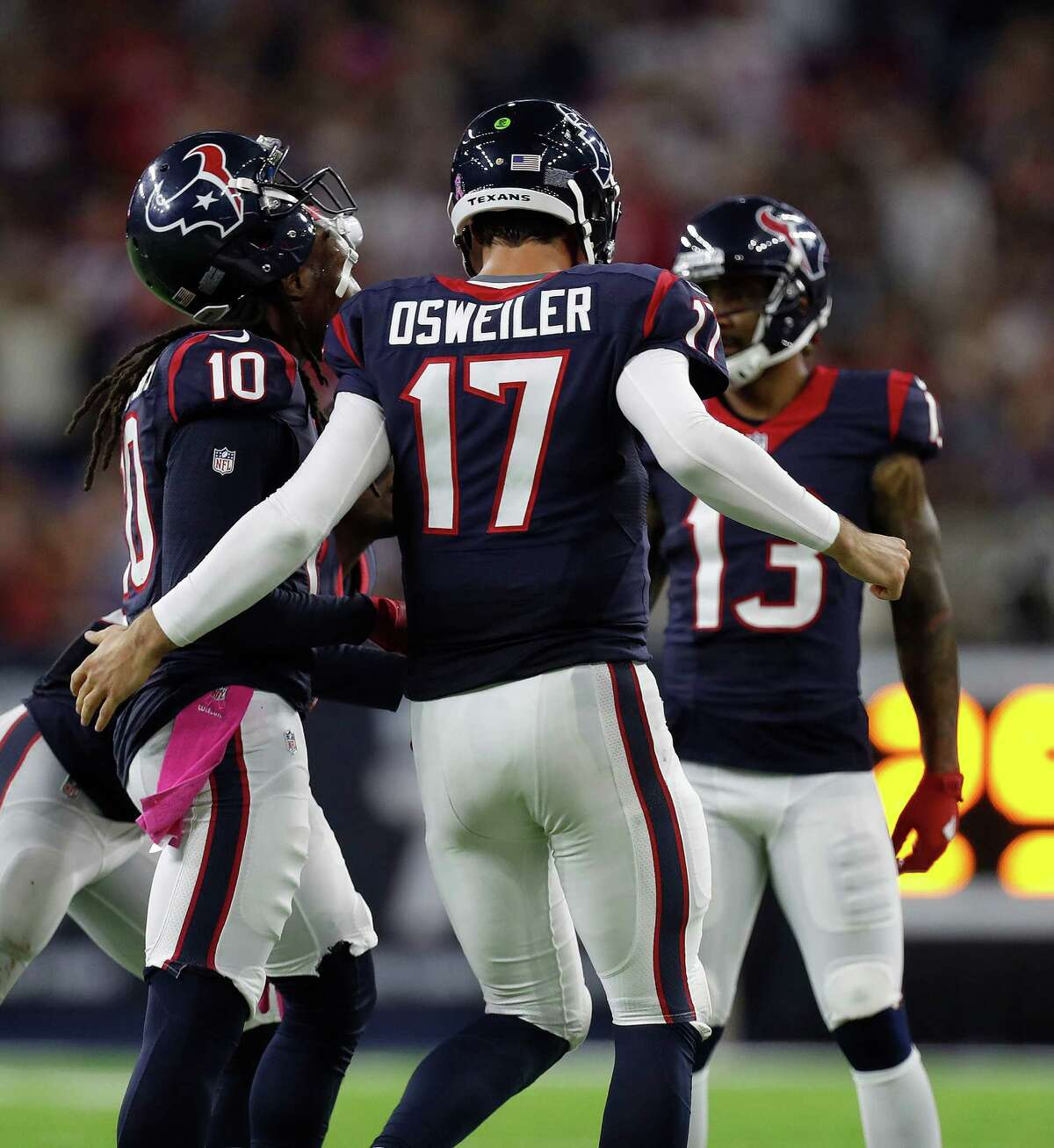 FIVE UP 1. Texans quarterback Brock Osweiler Osweiler had a resurgent late-game performance, completing 25 of 39 passes for 269 yards, two touchdowns and one interception for a 90.7 passer rating.  Osweiler completed 11 of 22 passes for 89 yards, one interception and a 41.7 rating through three quarters. In the fourth quarter and overtime combined, he completed 14 of 17 passes for 180 yards, two touchdowns and a 143.8 passer rating. He displayed confidence and command, the kind the Texans hoped for when they signed him to a four-year, $72 million deal.