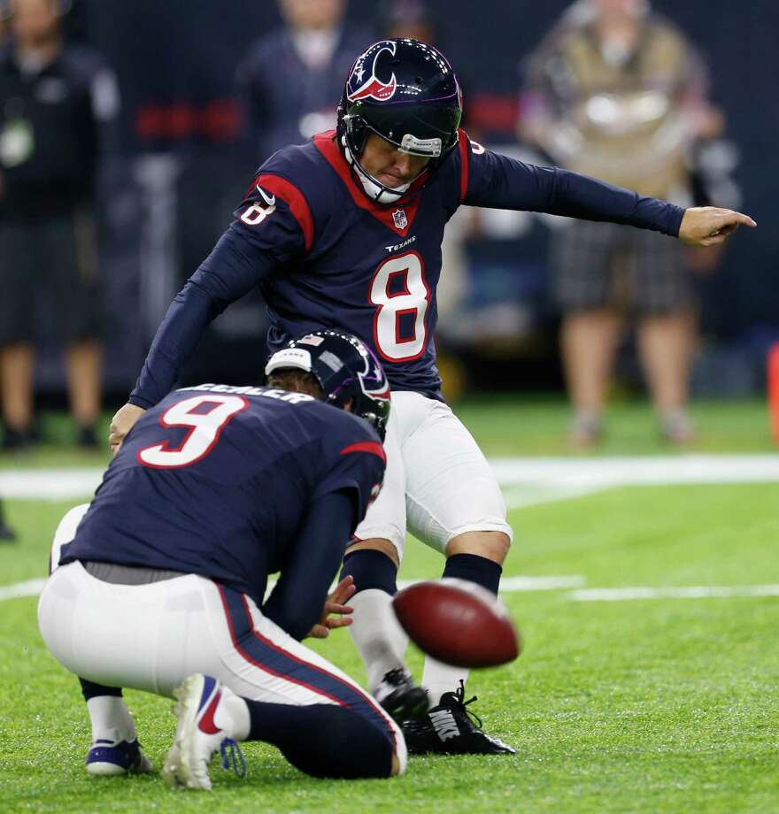 Houston Texans kicker Nick Novak (8) kicks a 27-yard field goal against the Indianapolis Colts during the second quarter of an NFL football game at NRG Stadium on Sunday, Oct. 16, 2016, in Houston. Photo: Brett Coomer, Houston Chronicle / © 2016 Houston Chronicle