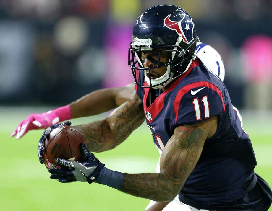 Houston Texans wide receiver Jaelen Strong (11) beats Indianapolis Colts defensive back Rashaan Melvin (30) for a 33-yard reception to set up Houston Texans kicker Nick Novak's 33-yard field goal to beat the Colts in overtime of an NFL football game at NRG Stadium on Sunday, Oct. 16, 2016, in Houston. Photo: Brett Coomer, Houston Chronicle / © 2016 Houston Chronicle