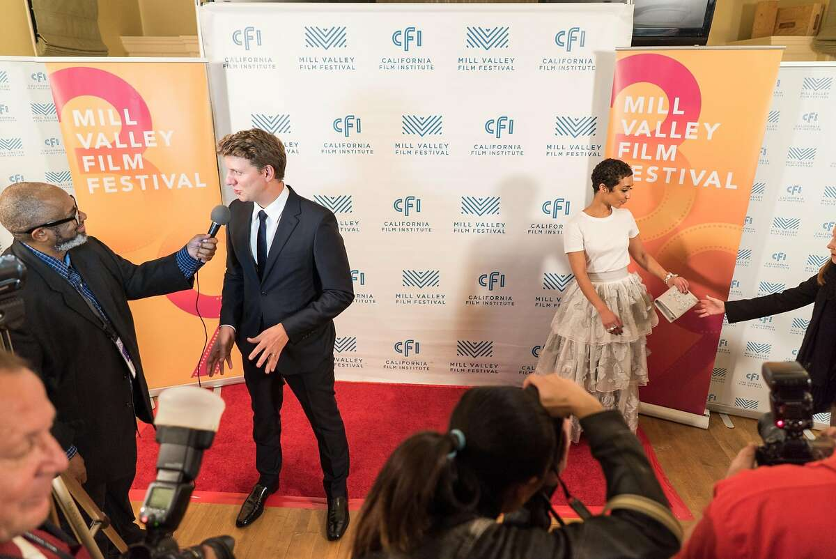 """Director Jeff Nichols, left, and actress Ruth Negga take questions during the last night of the Mill Valley Film Festival at Cavallo Point in Sausalito, Calif. on Sunday, Oct. 16, 2016. The Mill Valley Film Festival closed with """"Loving,"""" a story about Richard and Mildred Loving, the interracial couple whose love helped change marriage laws."""