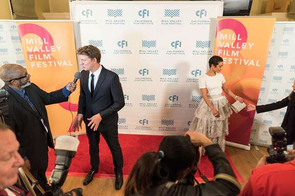 "Director Jeff Nichols, left, and actress Ruth Negga take questions during the last night of the Mill Valley Film Festival at Cavallo Point in Sausalito, Calif. on Sunday, Oct. 16, 2016. The Mill Valley Film Festival closed with ""Loving,"" a story about Richard and Mildred Loving, the interracial couple whose love helped change marriage laws."