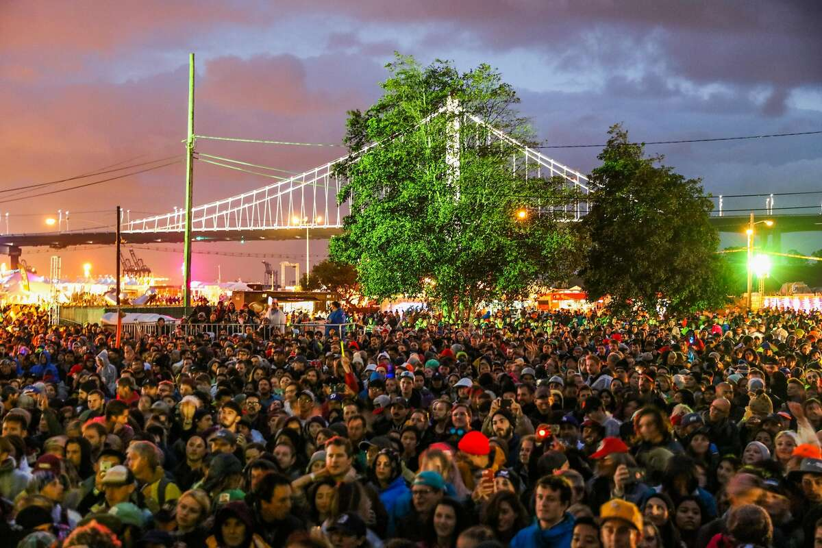A crowd gathers to hear Sylvan Esso perform during the second day of the Treasure Island Music Festival in San Francisco, California, on Sunday, Oct. 16, 2016.
